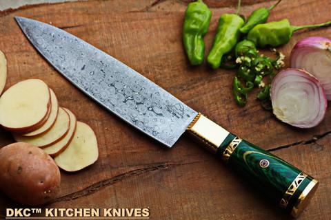 """DKC-533-DS-GR Grand Master Chef Knife Damascus Steel DKC Knives 16.8 oz 12"""" Long 7.5"""" Blade (Green)"""