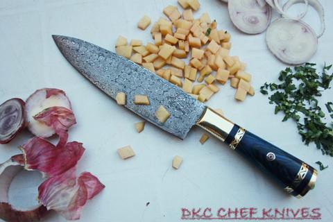 "DKC-533-DS-BL Grand Master Chef Knife Blue Handle Damascus Steel DKC Knives 16.8 oz 12"" Long 7.5"" Blade (Blue Handle Damascus Blade)"