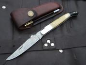 "DKC-774 SNOW LEOPARD Laguiole Damascus Steel Folding Pocket Knife Black-White Bone 3 oz 7.5"" long 4"" Blade (DKC-774)"
