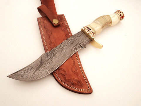 "DKC-834 Rabica Bowie Damascus Steel Knife DKC Knives (TM) 18 oz 7.5"" Blade 12.5"" Overall (DKC-834)"