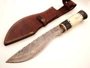 "DKC-804 Horseman Bowie Kukri Damascus Steel Knife 13.5"" Overall 8.5"" Blade 18 oz"