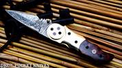 "DKC-633-SW  GALAXY Damascus Steel Folding Knife DKC Knives (TM) 7.7 oz 3.25"" Blade 7.5"""" Overall 4.5"" Closed (Snake Wood)"