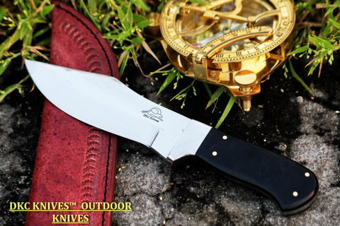 """DKC-199 Black Seal 440c Stainless Steel Hunting Knife With Black Bone Handle 8.5oz 5"""" Blade 9"""" Overall (DKC-199)"""