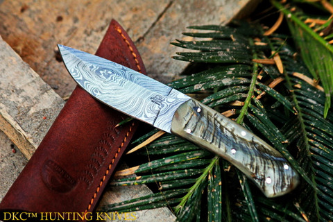 """DKC-181 STAG JACK Damascus Steel Hunting Knife Stag Horn Handle 7oz 8"""" Long 4"""" Blade (DKC-181)"""