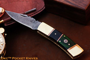"DKC-126 MAGGIE Damascus Steel 8 oz 3.5"" Blade 7.75"" Overall Folding Pocket Hunting Knife DKC KNIVES TM"