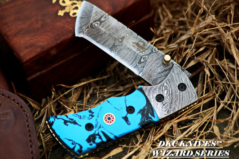 DKC-27 Wizard in  Caribbean Blue Resin  Handle Damascus Blade DKC Knives