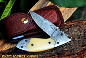 "DKC-154-W FANG WHITE Damascus Steel Hand Made Pocket Folding Knife DKC Knives (TM) 9oz 4.5"" Closed 7"" Open 3.5"" Blade"