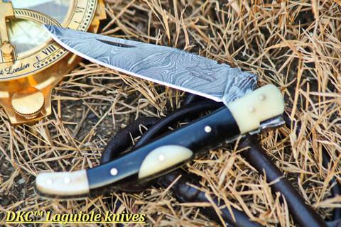 "DKC-776 BODEGA Laguiole Folding Pocket Knife White/Black Bone 2.5oz 8""Long 3"" Blade"