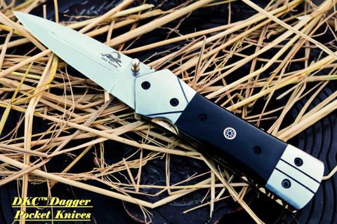 """DKC-130-440c NIGHT STAR 440c Stainless Steel 4.5' Folded 8"""" Open 9.5 oz DKC Folding Knife"""