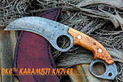 """DKC-87-DS OWL FOX DAMASCUS Steel Skinner Hunting Knife 8""""Long 6.2oz High Class Looks Incredible Feels Great In Your Hand And Pocket Hand Made DKC Knives"""