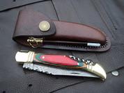 "DKC-785 RAINBOW Laguiole Damascus Steel Folding Pocket Knife Colored Ebony Wood 3.7 oz 8.5"" long 3.5"" Blade DKC KNIVES"