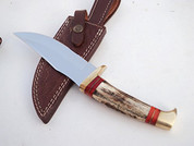 "++ DKC-717-440c BALD EAGLE 440c Stainless Steel Bowie Hunting Handmade Knife Stag Horn Fixed Blade 9.8oz 10 "" Long 5"" Blade DKC KNIVES"