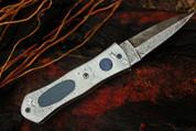 "DKC-127 SPOCK Pocket Folding Damascus Hunting Knife Damascus & Bone Inlay 8"" Long, 3"" Blade 4.5"" Folder 9.5oz DKC Knives Work of Art !"