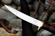 "DKC-610 BLACK DOUCETTE FISHING FILET KNIFE Mirror Finish Steel Blade Hunting Handmade Knife Fixed Blade 5.9 oz 11"" Long 6"" Blade"