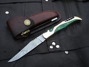 "DKC-782 LEPRICHAUN Damascus Steel Folding Laguiole Pocket Knife 4.4 oz 8.5"" long 4"" Blade DKC KNIVES"