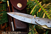 "++DKC-155 MINNOW Fish Damascus Steel 3.5"" Blade 4.5' Folded 7.5"" Open 7.5 oz Pocket Folding Knife DKC Knives Hand Made Incredible Look and Feel FISHANA SERIES"