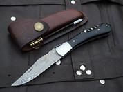 "DKC-781 SONOMA Laguiole Damascus Steel Folding Pocket Knife Black Bone 3 oz 7.5"" long 4"" Blade DKC KNIVES"