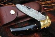 "DKC-526 BLACK EAGLE Damascus Steel Folding Pocket Knife 4.5"" Folded 8"" Long 3"" Blade 6.4oz High Class Hand Made DKC Knives"