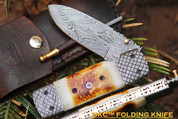 "DKC-167 Snow Stag Damascus Steel Blade Folding Pocket Knife 9"" Long 4"" Blade 5"" Folded 13oz DKC Knives TM Very Solid Handmade Knife by dkc"