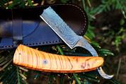 "DKC-537 KNIGHT'S Barber Razor Damascus Steel 6"" Long 3"" Blade 2.5 oz Burl Olive Wood"