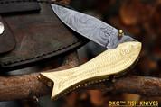 "DKC-597 BRASS MAMA FISH Bass Trout Fishing Pocket Folding Damascus Hunting Knife Brass & Bone Folded 9.5oz 4.5"" Closed 7.5"" Open 3.5"" Blade DKC Knives FISHANA SERIES"