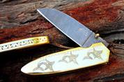 "DKC-76 MARLIN Fish BRASS Damascus Folding Pocket Knife 5"" Folded, 9"" Open 11.5 Oz very solid sophisticated knife. Duck Custom Engraved DKC Knives"