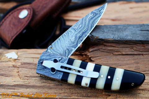 "DKC Knives DKC-105-PC BUMBLE BEE Pocket Clip Damascus Folding Pocket Knife 4.5"" Folded 8"" Long 7.2oz oz High Class Looks Incredible Feels Great In Your Hand And Pocket Hand Made (DKC-105-PC)"