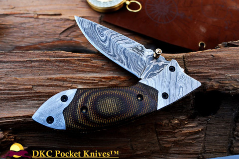 "DKC-154-BSW  FANG Brown Swirl Damascus Steel Hand Made Pocket Folding Knife DKC Knives (TM) 9oz 4.5"" Closed 7"" Open 3.5"" Blade"