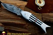 "DKC-589 ZEBRA FISH Pocket Folding Damascus Hunting Knife Hand Engraved .75oz 4.5"" Closed 7.5"" Open 3.5"" Blade FISHANA SERIES"