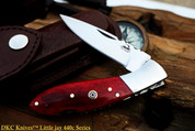 "DKC-58-LJ-RB-440c LITTLE JAY Series RED BONE HANDLE 440c Stainless Steel Folding Pocket Knife 4"" Folded 7"" Approx 3.25""Blade a Long 4.7oz oz"