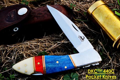 """DKC-58-Lj- Cl-440c Classic LITTLE JAY 440c Stainless Steel Folding Pocket Knife 4"""" Folded 7"""" Long 4.7oz oz Hand Made Lj-Series"""