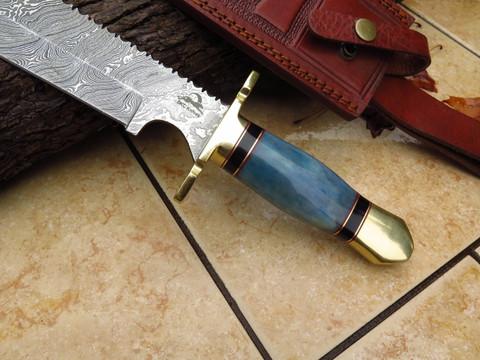 "DKC-6003 Ocean Bowie Damascus Steel Hunting Knife DKC Knives 1.3lbs 15""Long 9.5' Blade"