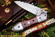"DKC-59 DARTMOUTH Damascus Folding Pocket Knife 4.5"" Folded 7.5"" Long 7.7oz oz"
