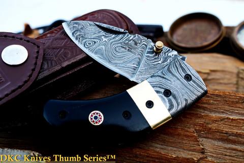 "DKC-43 BLACK THUMB Damascus Folding Pocket Knife 3.5"" Folded 7.5"" Open 7.5oz 2.25"" Blade"