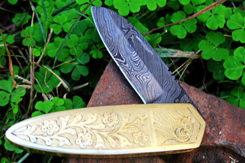 "DKC-47 GOLDEN RAM (Small) Damascus Folding Pocket Knife Polished Brass 4 "" Folded, 6.5"" Open 8 Oz very solid sophisticated knife.Custom Engraved DKC Knives ™"