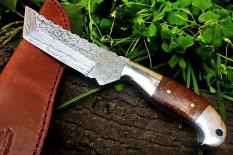 """DKC-42 OTTER Tanto Fixed Damascus Hunting Knife   9"""" Long, 5"""" Blade 10oz DKC Knives TM Very Solid Knife Deep Brown Micarta Handle"""