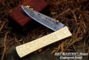 "DKC-45 GOLDEN RAM (large) Damascus Folding Pocket Knife 6"" Folded, 11"" Open 16oz Polished Brass Custom Engraved"