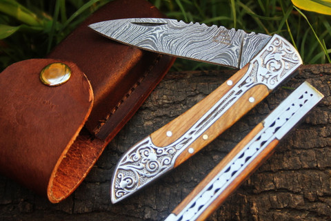 """DKC-37-OW VICTORIAN Damascus Folding Pocket Knife Olive Wood 7.75"""" Long, 4.5"""" Folded 3"""" Blade 4.8oz DKC Knives Hand Made Incredible Look and Feel"""