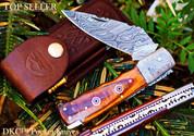 "DKC-35 STALLION Damascus 4.5' Folded 8"" Open 6.8 oz Pocket Folding Knife"