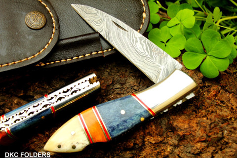 "DKC-58 BLUE JAY Damascus Folding Pocket Knife 4.5"" Folded 8"" Long 7.5 oz High Class Looks Incredible Feels Great In Your Hand And Pocket Hand Made DKC Knives ™"