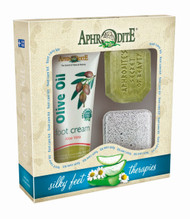 This foot care spa kit contains our best-selling aloe vera foot cream (2.54 fl oz), olive oil soap with aloe vera (2.3 oz) and a square pumice stone for exfoliation. The secret to silky smooth feet!