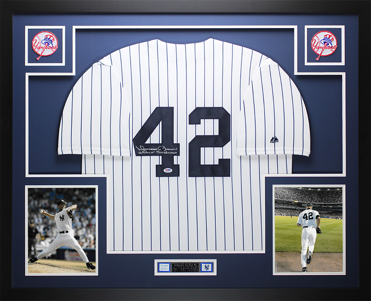 Mariano Rivera Autographed Sandman and Framed White Yankees Jersey