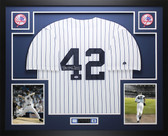 Mariano Rivera Autographed Enter Sandman and Framed White Pinstripe Yankees Jersey Auto PSA Certified