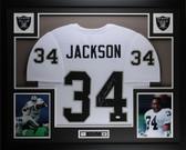 Bo Jackson Autographed & Framed White Raiders Jersey Auto JSA COA