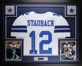 Roger Staubach Autographed and Framed White Cowboys Jersey Auto JSA COA