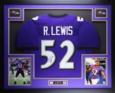Ray Lewis Autographed & Framed Purple Ravens Jersey Auto JSA COA