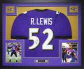 Ray Lewis Autographed and Framed Purple Ravens Jersey Auto JSA COA
