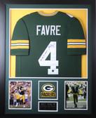 Brett Favre Autographed MVP and Framed Green Packers Jersey Favre COA (Vert)