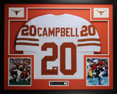 Earl Campbell Autographed HT 77 and Framed White Longhorns Jersey JSA COA