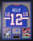 Jim Kelly Autographed and Framed Blue Bills Jersey Auto JSA COA (Vert)